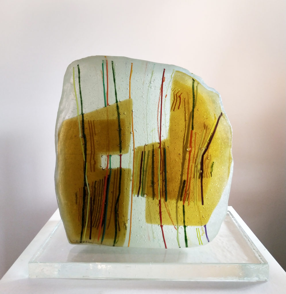 Caillou N°1 / sculpture de verre / terrasse : 30 x 20 : H. 30 cm