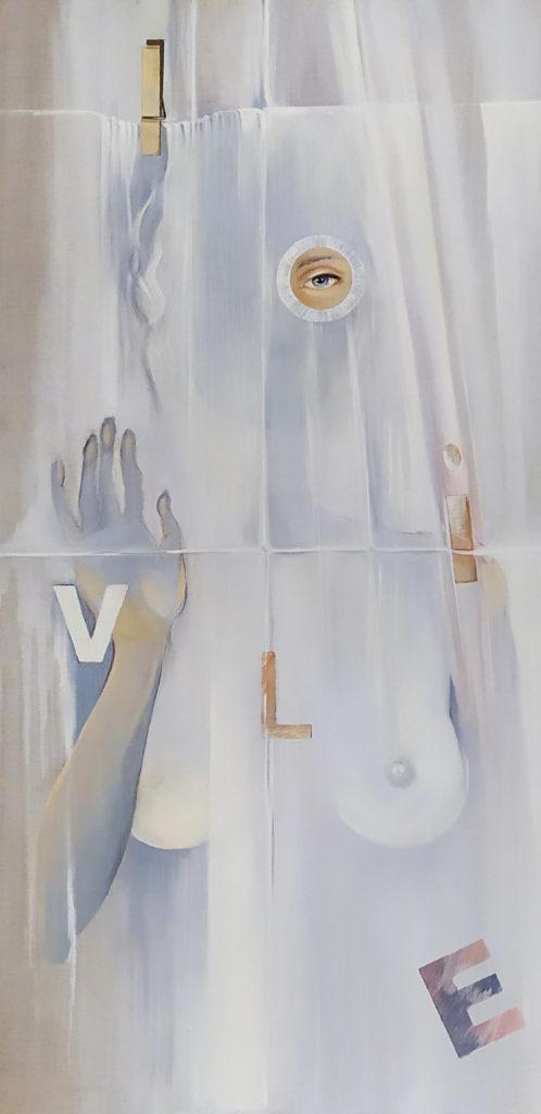 Olive à la Pince à Linge / 2009 / Huile sur toile / H. 100 : L. 50 cm