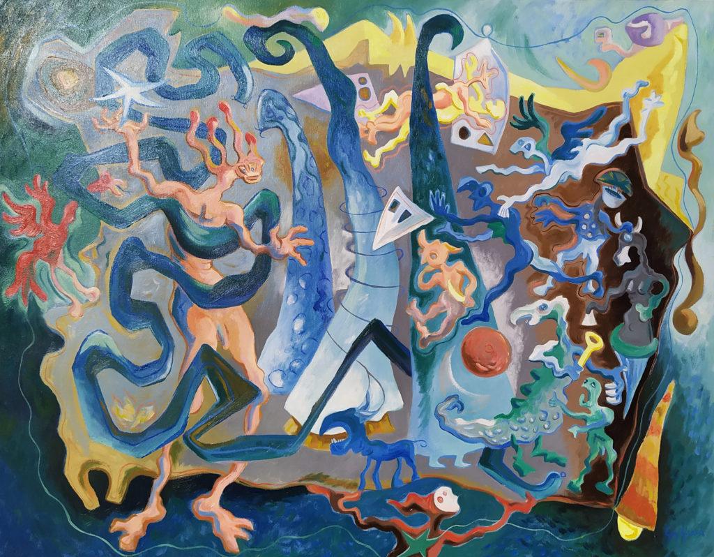 Le Serpent à la Triple Montagne ou L'Ile Perplexe / 2002 / Huile sur toile / H. 74 : L. 92 cm