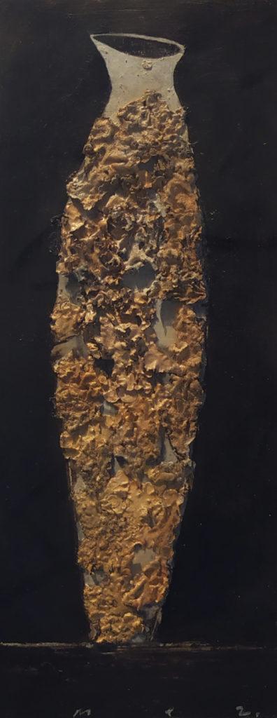 Vase Totem / 2005 / Technique mixte sur papier marouflé / H. 31 : L. 30 cm