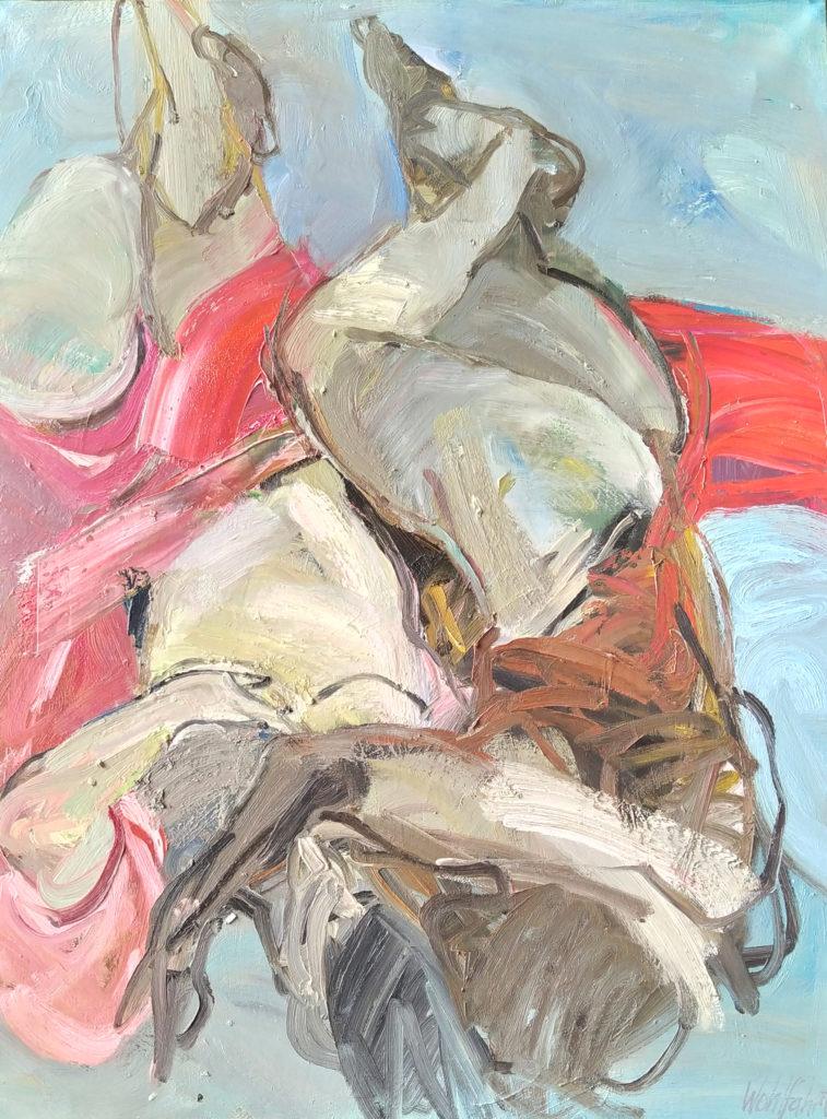 Le Voile Rouge / 1989 / huile sur toile / H. 115 : L. 90 cm
