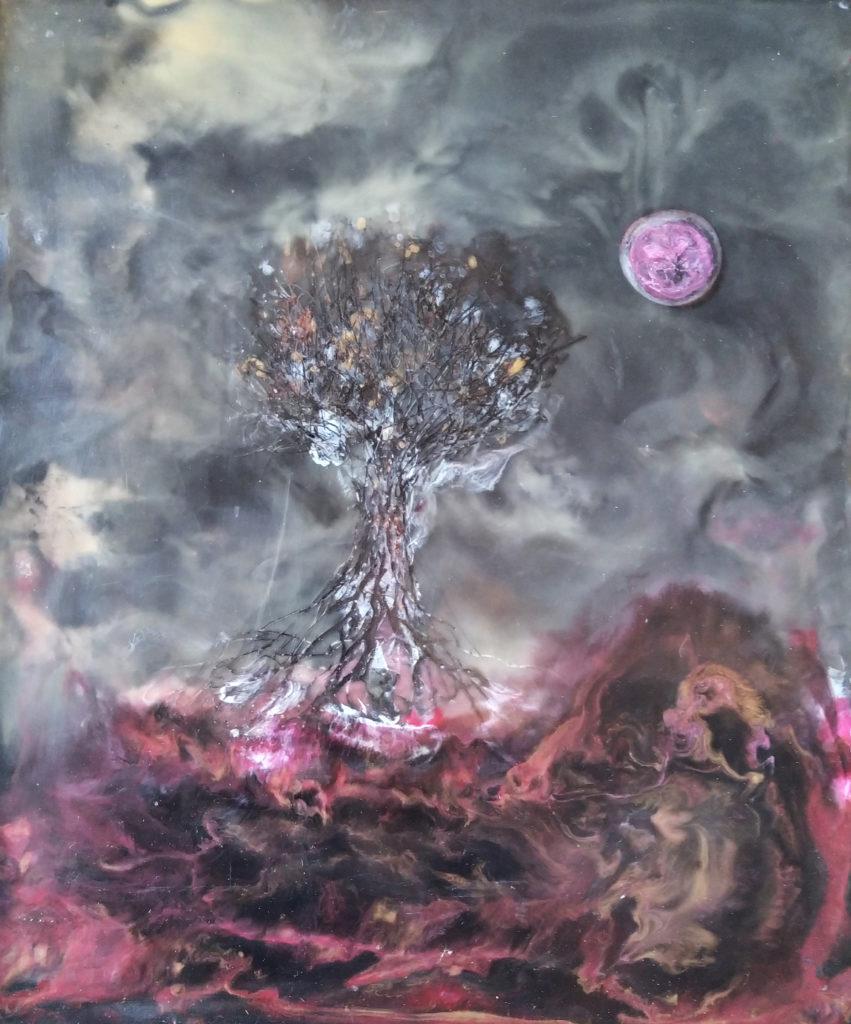 Arborescence / 2006 / Cire et pigments sur bois / H. 55 : L. 46 cm