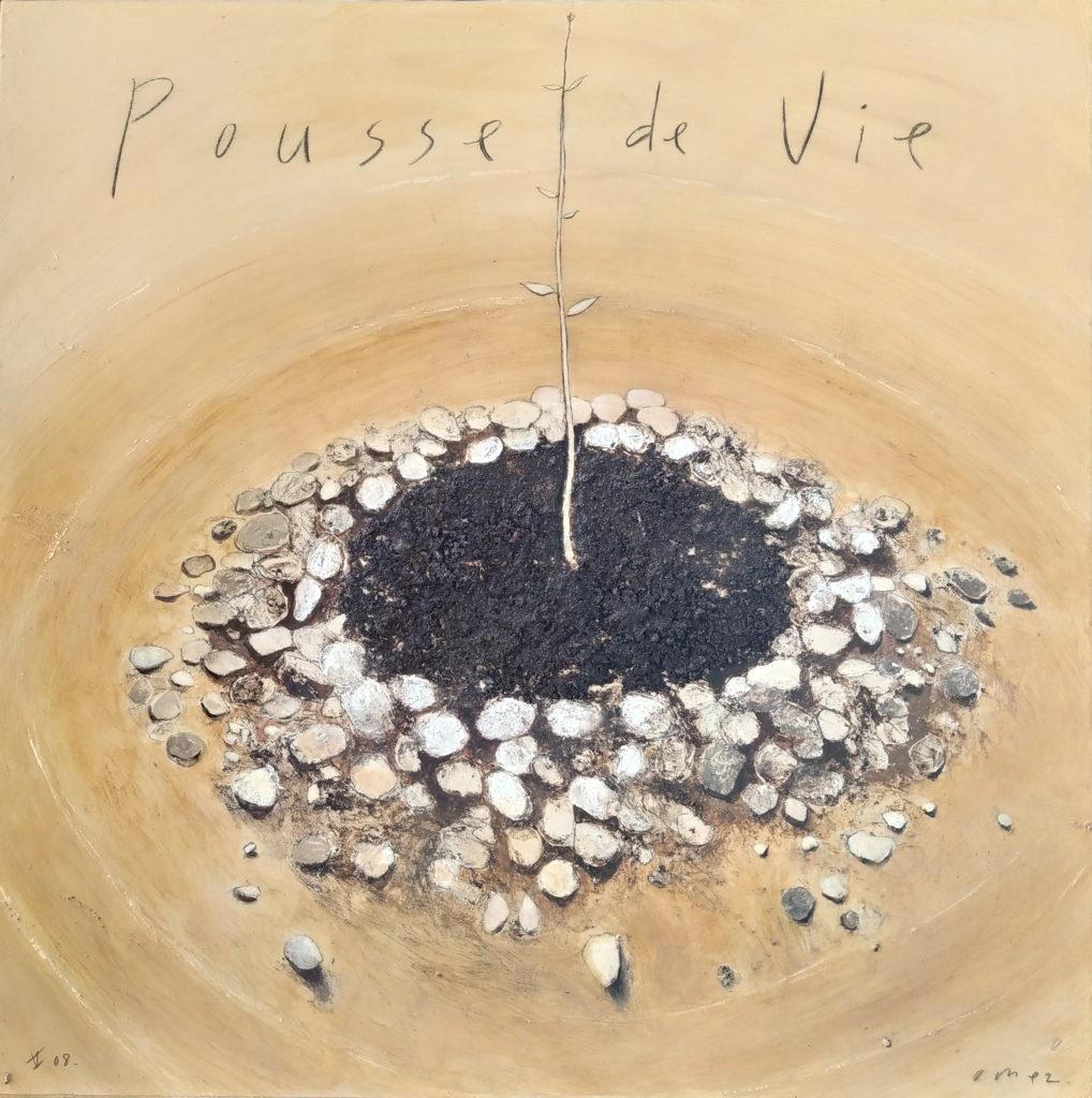 Pousse de Vie / 2008 / technique mixte sur papier marouflé / H. 90 : L. 90 cm