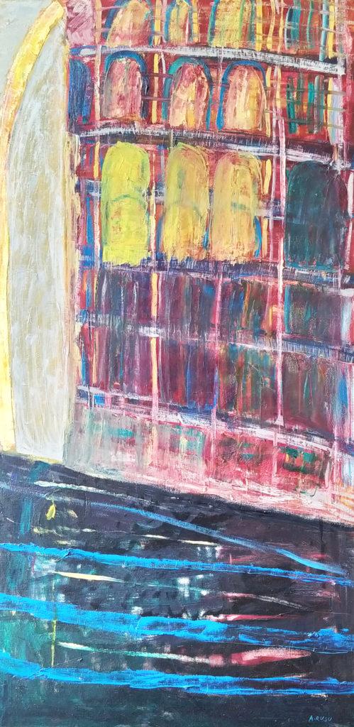 Mariinsky En Janvier / 2005 / Huile sur toile encadrée chêne / H. 120 : L. 60 cm