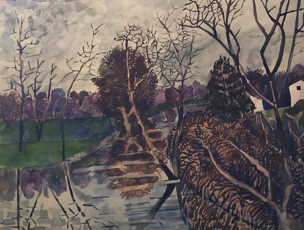 Pays de Bourgogne / 1996 / Aquarelle encadrée / H. 50 : L. 64 cm