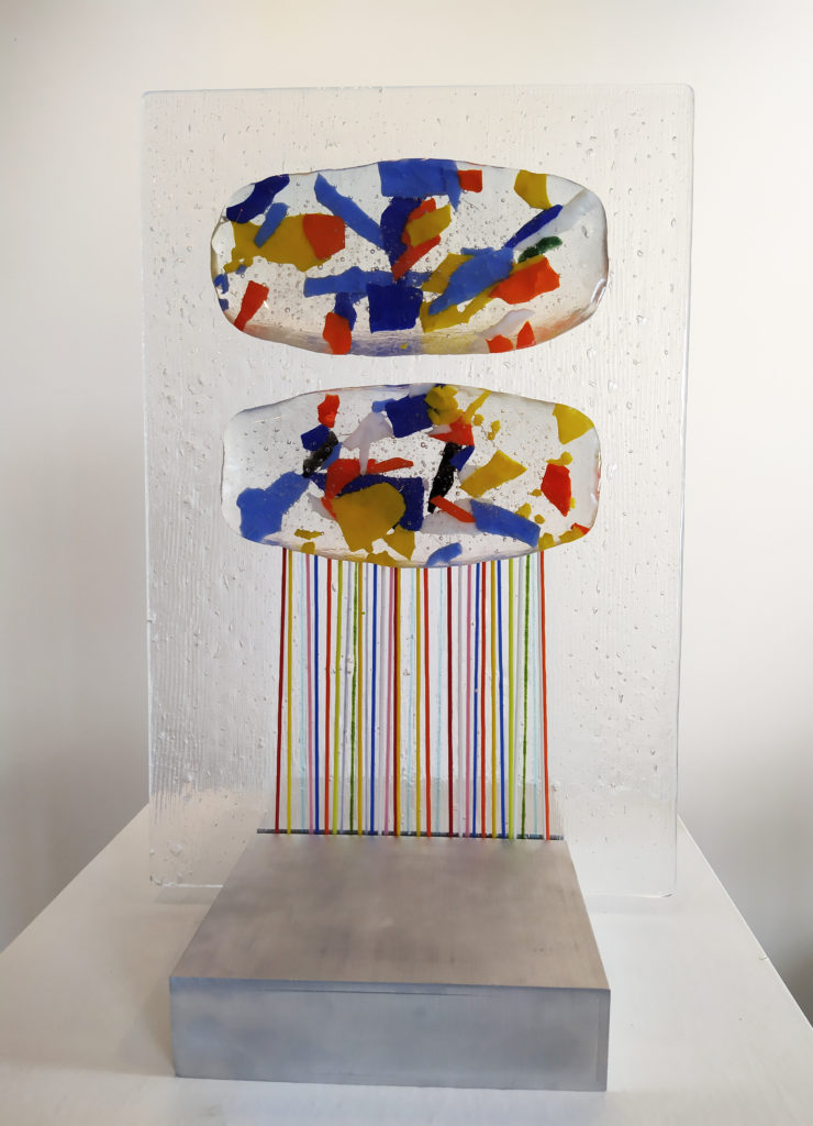 Deux Nuages / sculpture de verre / 27.5 x 21 : H. 41.5 cm