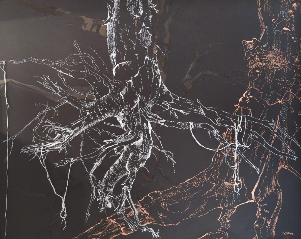 Sans titre / 2014 / Encre et fil mousse sur papier / H. 73 : L. 90 cm